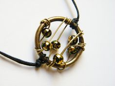 Golden and Olive Green Necklace Black Cotton by LadyRebelDesigns, $23.00