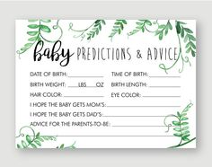 Greenery Baby Shower Games and Decorations, Gender Neutral Baby Shower Ideas Predictions for . Greenery Baby Shower Games and Decorations, Gender Neutral Baby Shower Ideas Predictions for Baby Predictions Printable Gender Predictions, Baby Shower Verde, Bebe Shower, Classy Baby Shower, Gender Neutral Baby Shower, Baby Gender, Baby Shower Games, Baby Shower Parties, Coed Baby Shower Food Ideas, Shower Party
