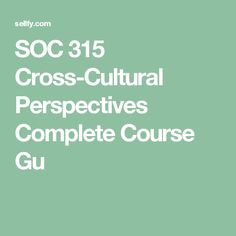 SOC 315 Cross-Cultural Perspectives Complete Course Gu Ashford University, Political Culture, Perspective, Politics