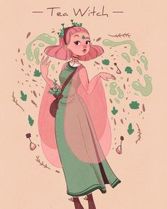 """Lana  (@lanajay_art) en Instagram: """"My witchsona! Amara the tea witch! She brews her own tea and then reads the future from the…"""""""