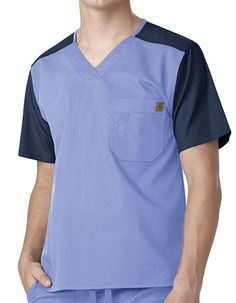 Buy Best Deal Color Block Men's Utility Scrub Top by Carhartt | Pulse Uniform for $23.99 Healthcare Uniforms, Medical Uniforms, Hospital Uniforms, Royal Blue Scrubs, Green Scrubs, Scrubs Uniform, Men In Uniform, Carhartt, Uniform Design