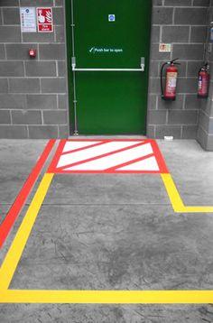 Yellow And Black Hazard Stripe Floor Marking Helps