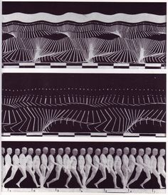 """One of the foundational images of motion capture, Etienne Jules Marey, chronophotographs from """"The Human Body in Action,"""" Scientific American (1914). By this time Marey had migrated from pure photography to abstraction, where strips of highly reflective material were applied to the limbs of a subject otherwise draped in black, so only the key elements of motion were registered. The checkerboard allowed speed to be measured by also capturing a clock."""