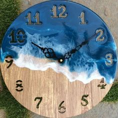 with epoxy waves. Wall clock with epoxy waves. Wall Clock Wooden, Wood Clocks, Clock Wall, Diy Clock, Clock Decor, Home Wooden Signs, Artistic Visions, Epoxy Resin Art, Popsicle Crafts