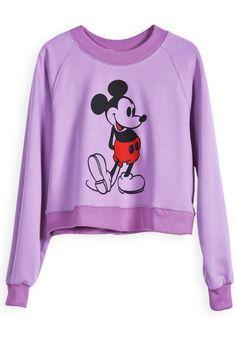 Purple Long Sleeve Mickey Print Crop T-Shirt GBP£13.64