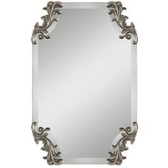 Uttermost Andretta Baroque Wall Mirror (3.320 ARS) ❤ liked on Polyvore featuring home, home decor, mirrors, metallic silver, uttermost mirrors, uttermost wall mirrors, baroque home decor, frameless beveled mirror and beveled wall mirror