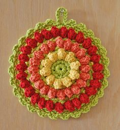 Crochet Hot Pad - Cotton - Yellow, Tangerine, Red - Fruit