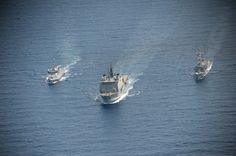 Three Spanish warships currently deployed off coast of Somalia rendezvoused in Gulf of Aden on October 3.Operation Atalanta flagship,ESPS Galicia & ESPS Victoria performed simultaneous refuel with American supply ship,USNS Carl Brashaer.Galicia ensured her fuel tanks fully topped up in preparation for her journey home to Rota,Spain,when she departs EU Naval Force later this week.ESPS Meteoro also refuelled from USNS Carl Brashaer,before joining a formation with ESPS Galicia & ESPS Meteoro.