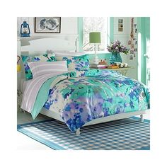 Teen Vogue Watercolor Garden Comforter Set (145 AUD) ❤ liked on Polyvore featuring home, bed & bath, bedding, comforters, watercolor comforter, watercolor bedding and watercolor comforter set