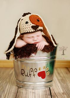 Precious Puppy Dog Photo Prop Bucket by HushaByeCreations on Etsy, $38.00