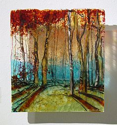 Nature's Curtain, Kiln fired glass wall panel by Alice Benvie Gebhart