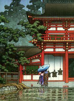 Ukiyo-e: Kasuga Shrine, Nara. 1933 Japanese Ukiyo-e: Kasuga Shrine, Nara. Ukiyo-e: Kasuga Shrine, Nara. Japanese Art Prints, Japanese Artwork, Japanese Graphic Design, Japanese Painting, Chinese Painting, Japan Illustration, Botanical Illustration, Kasuga Shrine, Japanese Shrine