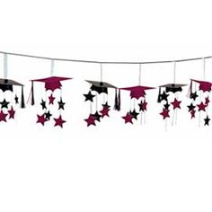 You could easily DIY this garland for a grad party.  http://www.partysuppliesmall.com/Themed-Party-Supplies/Graduation-Theme-Party/Congrats-Grad-Berry-Graduation-3D-Garland-1004887/