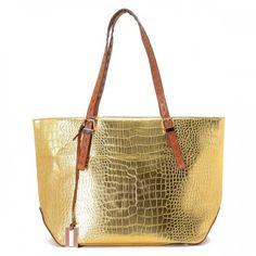 Michael Kors Gia Metallic Crocodile-Embossed Leather Tote Golden