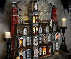 Build the suspense leading up to the greatest holiday of the year with this Halloween advent calendar. This spooktacular mansion stands at 37 inches tall, features a sturdy construction and amazing attention to detail given to every square inch.