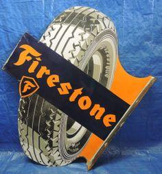 Firestone Tires Antique Porcelain Sign (Old Vintage Double-Sided Flange Tire Advertising Sign, Germany)
