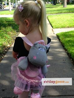 The Hippo Silly Sak makes is the perfect bag to hold ballet shoes on the first day of class. Available at www.tinygeese.com.