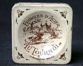 Vintage pink French square tin box.
