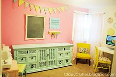 Colorful Craft Room - www.classyclutter.net