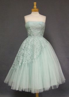 1950s robin's egg blue asymmetrical lace and tulle prom dress