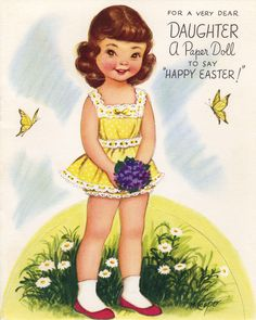 Easter paper doll card by Marjorie Cooper
