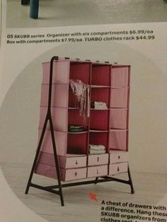 "Ikea you brilliant thing. Take hanging closet shelves and hang them on a portable coat rack for a more ""functional"" closet while camping. Saw it in their new catalog."