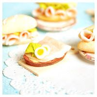ice-cold bommerlunder : boiled ham of a slice of bread #polymerclay #minifood #fimo #miniature