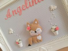 Porta Maternidade raposinha bordado   Ateliê Sonhos de Mimar   Elo7