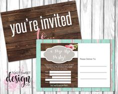Honey and Lace Pop Up Party Invite, Honey & Lace Custom Event Invitation, Consultant Marketing, Boutique pop up card promo, best rustic wood vintage shabby chic design by TootSweetDesignCo on Etsy