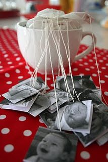 """Love this! Print photos for tea bag tabs. Would be good for an assorted """"Tea"""" bar at the wedding."""