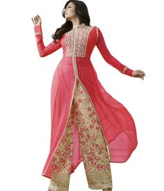 Designer Pink & Beige Georgette Semi Stitched Long Straight Trouser Kameez with Duppatta-81009 - Salwar Kameez