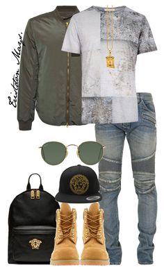"""""""U Might Just Get With That R.I.C.O!!"""" by monroestyles ❤ liked on Polyvore featuring Acne Studios, Balmain, Versace, Timberland, Ray-Ban, MensFashion and teamdrake"""