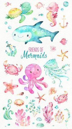 Amigos de las sirenas. Acuarela Prediseñadas peces medusas