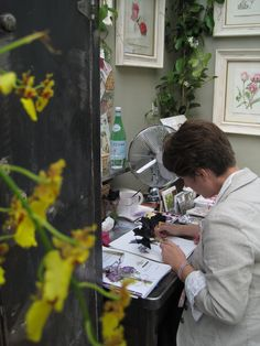 The very talented Billy Showell - botanical artist, who took residence in a conservatory at RHS Chelsea a few years ago