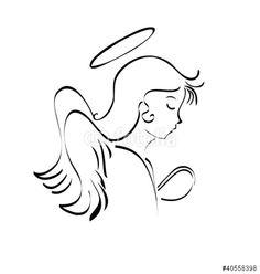 Vector: Angel praying to God