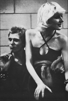 Paul Simonon (The Clash) and Caroline Coon (journalist, artist, ex-girlfriend).