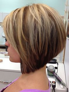 Stacked Bob Haircut for Straight Hair - http://www.prettydesigns.com/15-trendy-stacked-bob-haircut-looks/