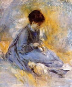 ⍕ Paintings of People & Pets ⍕  Pierre-Auguste Renoir   Young Woman With A Dog, 1876