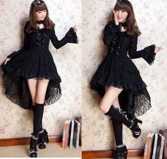 Kawaii GOTHIC PUNK LOLITA ALICE swallow tail DRESS +CHOKER S-L 81145 Black #OwnBrand #Casual. I love this.