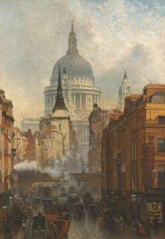 Ludgate, Evening, 1887, John O'Connor.  La-clef-des-cœurs