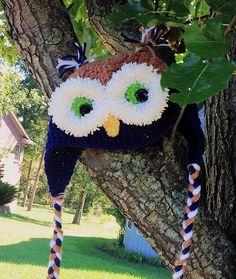 Owl Animal hat, crochet owl hat, blue, children's hat, character hat by OnceUponARoll Owl Animal, Animal Hats, Crochet Owl Hat, Crochet Baby, Owl Eyes, Wise Owl, Knit Mittens, Crochet For Kids, Kids Wear