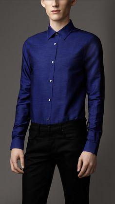Burberry London Modern Fit Linen Cotton Shirt