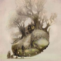 Fantasy Art Print - Fairy Tale Art by theFiligree- found on Etsy - Love this! Looks like Howl's Moving Castle