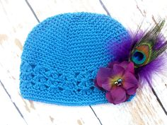 Turquoise Peacock Baby Beanie Hat .. Baby Girl Hats .. Baby Beanie Hat .. Newborn Hat .. Baby Crochet Hat .. Photo prop