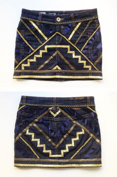 Transform your old denim miniskirt just using different ribbons and give a geometric look to it    a n n a • e v e r s DIY fashion blog: Mini falda étnica
