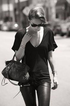 Anine Bing Black Women's Lambskin Stretch Leather Pants