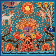 The birth of Tatewari Arte Haida, Art Indien, Kunst Der Aborigines, Tantra Art, Yarn Painting, Mexico Art, Psy Art, Indigenous Art, Naive Art