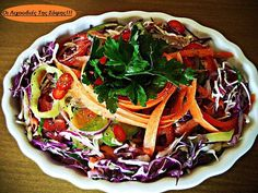 Συνταγη+για+Πικάντικη+λαχανοσαλάτα+απο+τη+Σόφη+Τσιώπου Salad Bar, Vegetable Pizza, Cabbage, Salads, Recipies, Chicken, Vegetables, Cooking, Food
