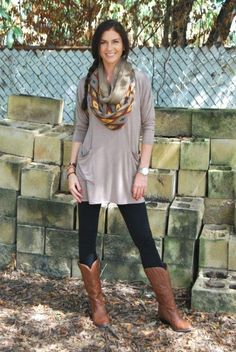 scarf look with tan boots, Back to college girls outfits http://www.justtrendygirls.com/back-to-college-girls-outfits/