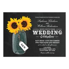 SUNFLOWER CHALKBOARD MASON JAR WEDDING INVITE